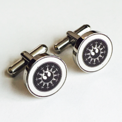 Colour Engraved Round Silver Cufflinks