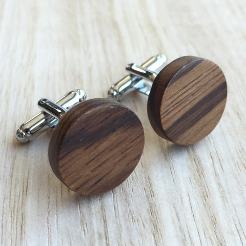 Wooden Round Brown Cufflinks