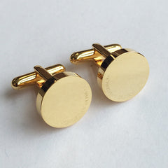 Personalised Engraved Full Name Round Gold Cufflinks