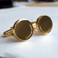 Personalised Engraved Full Name Round Gold Cufflinks - OUT OF STOCK DISPATCH 28TH AUG
