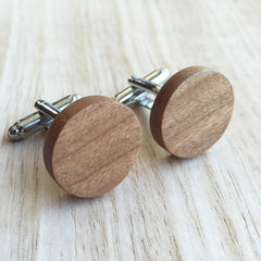Wooden Round Light Brown Cufflinks