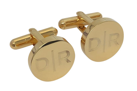 Personalised Engraved Split Letter Round Gold Cufflinks