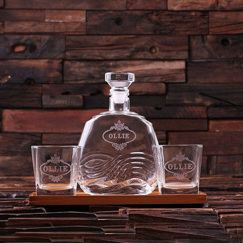 Personalised Bar Tray Set with Decanter & 2 Whiskey Glasses