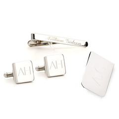 Engraved Square Silver Cufflinks Money Clip and Tie Bar Set