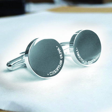Personalised Engraved Full Name Round Silver Cufflinks - OUT OF STOCK DISPATCH 22ND JULY