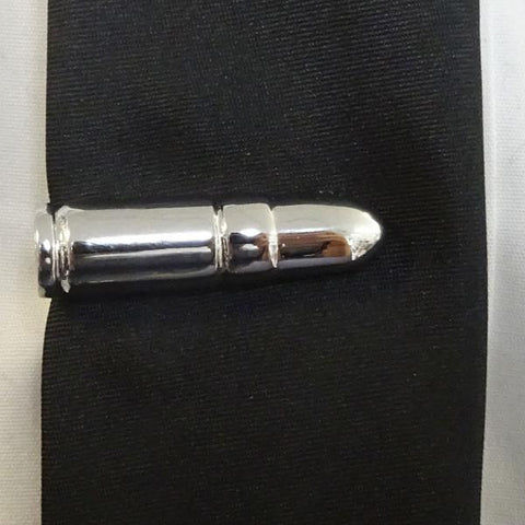 Silver 9mm Bullet Tie Bar