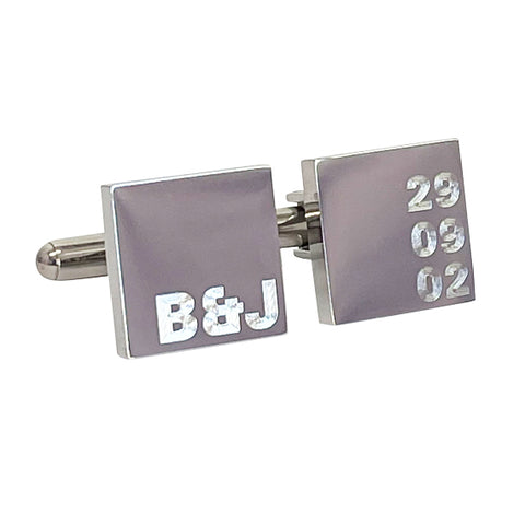Personalised Engraved Initial and Date Cufflinks