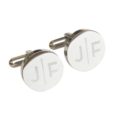 Personalised Split Letter Round Silver Cufflinks