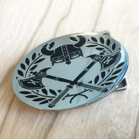 Colour Engraved Oval Belt Buckle - Silver
