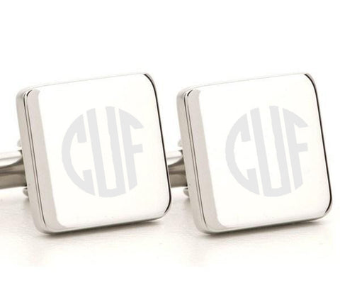 Engraved Square Monogram Silver Cufflinks