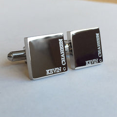 Personalised Engraved Full Name Square Silver Cufflinks