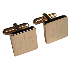 Personalised Engraved Split Letter Square Rosegold Cufflinks