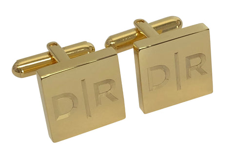 Personalised Engraved Split Letter Square Gold Cufflinks