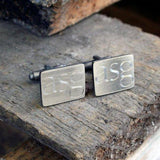 Brushed Rectangle Engraved Silver Cuffs