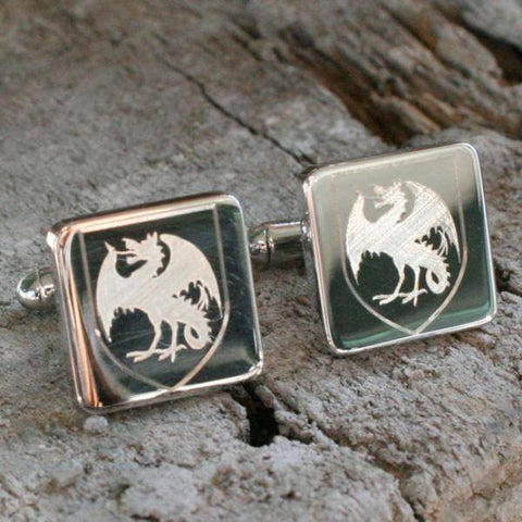 Square Family Crest Logo Cufflink Silver