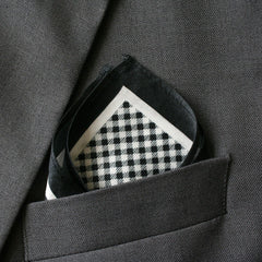 Silk Black Checkered Pocket Square