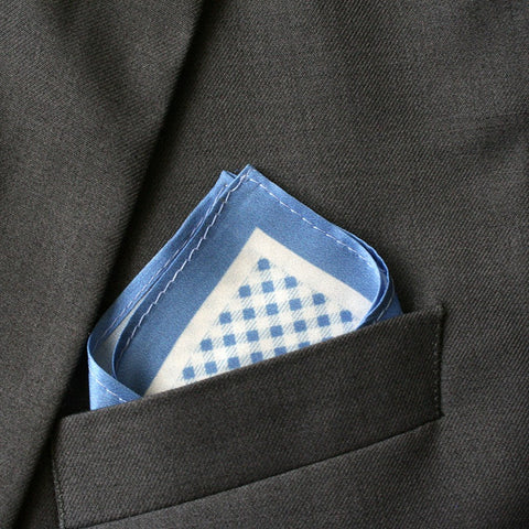 Silk Sky Blue Checkered Pocket Square