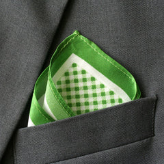 Silk Green Checkered Pocket Square