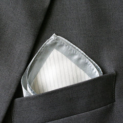 Silk Grey Striped Pocket Square