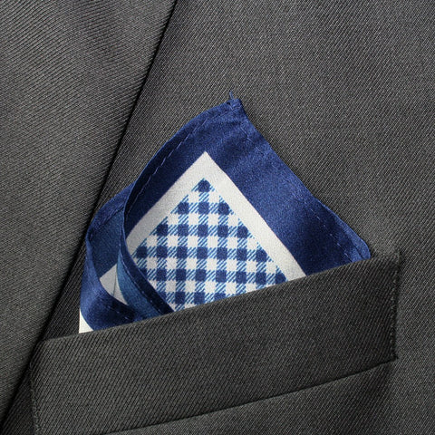 Silk Navy Checkered Pocket Square