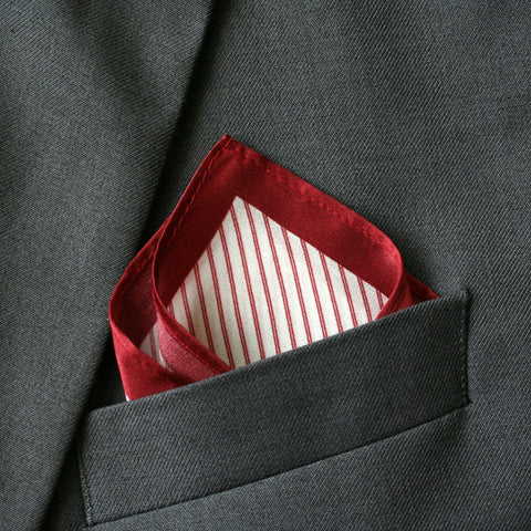 Silk Red Striped Pocket Square