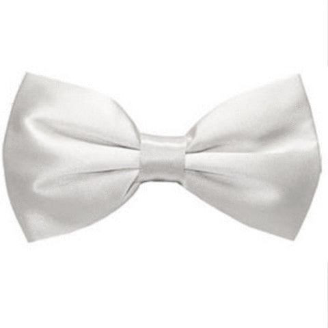 Ray of White Silk Wedding Bow Tie
