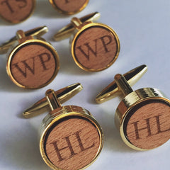 Personalised Round Laser Engraved Initial Wood Cufflinks
