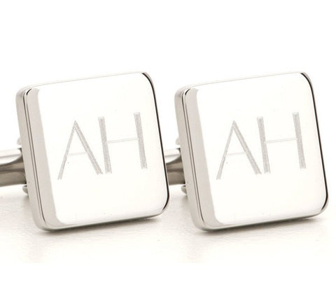 Personalised Engraved Square Silver Cufflinks