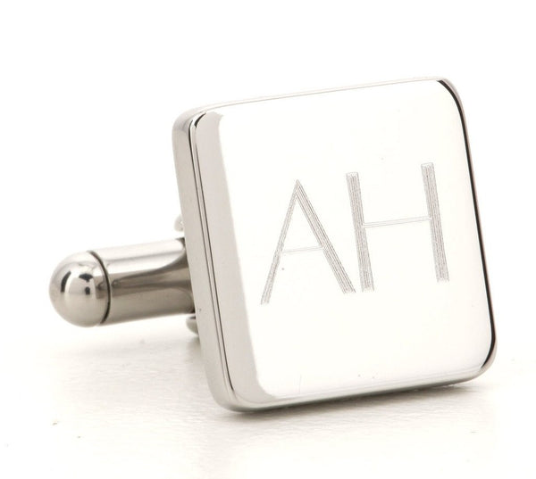 Engraved Logo Square Silver Cufflinks