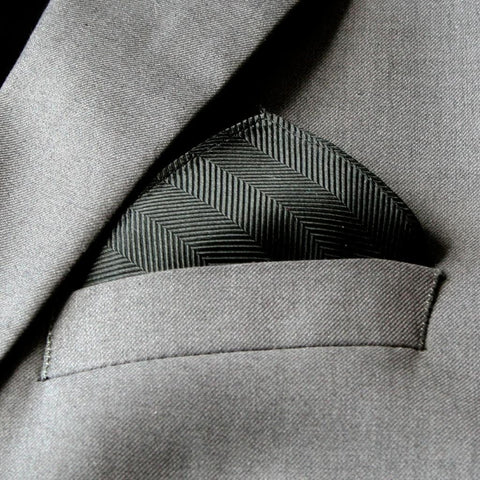 Mini Black Herringbone Pocket Square