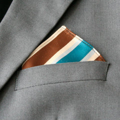 Mini Teal & Brown Striped Pocket Square