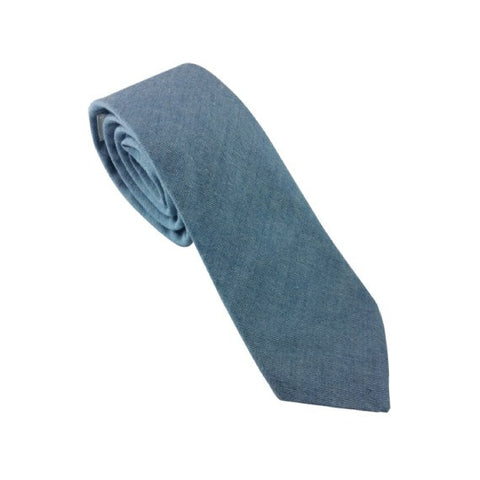 Blue Chambray Skinny Tie