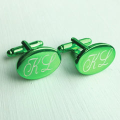 Engraved Oval Green Anodised Cufflinks