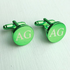 Engraved Round Green Anodised Cufflinks