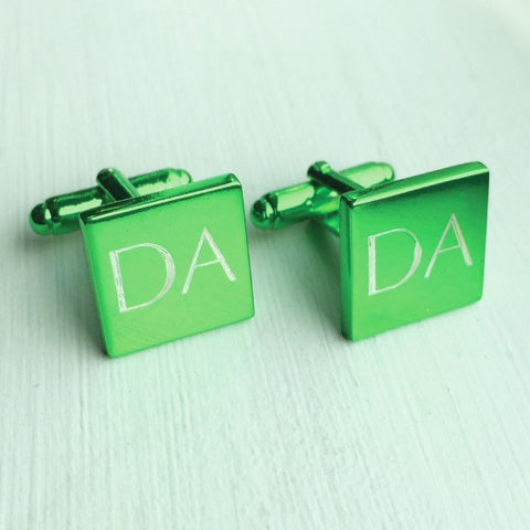 Engraved Square Green Anodised Cufflinks