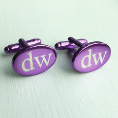 Engraved Oval Purple Anodised Cufflinks