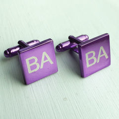 Engraved Square Purple Anodised Cufflinks