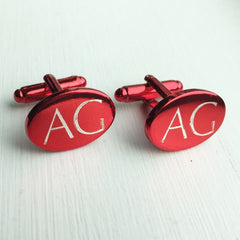 Engraved Oval Red Anodised Cufflinks