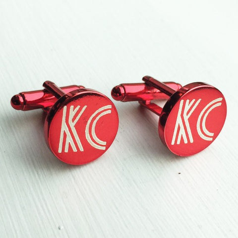Engraved Round Red Anodised Cufflinks