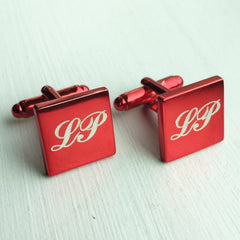 Engraved Square Red Anodised Cufflinks