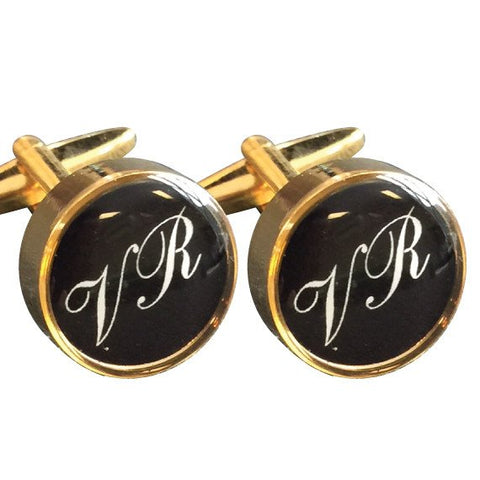 Gold Round Printed Initial Cufflinks