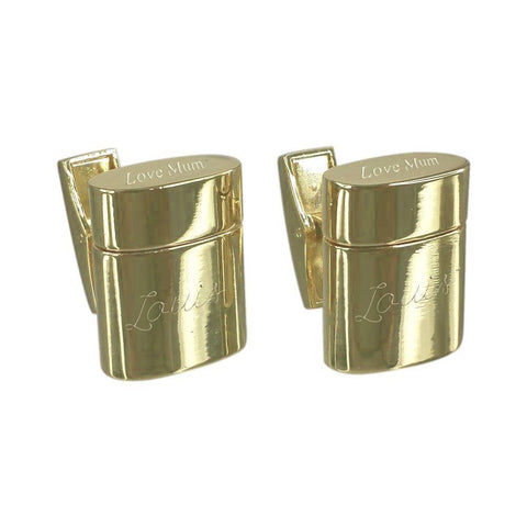Gold Engraved Rounded Cylinder USB Cufflinks