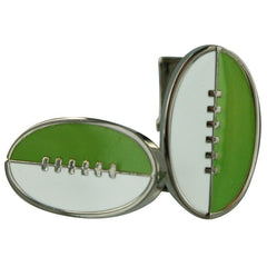 Footy Cuffs Green and White Cufflinks