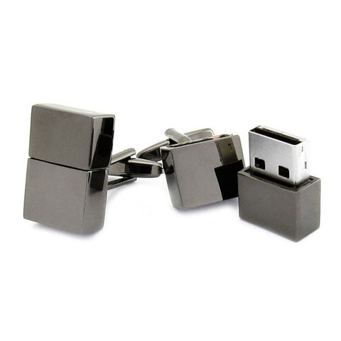 4GB USB Flash Drive USB GunMetal Cufflinks
