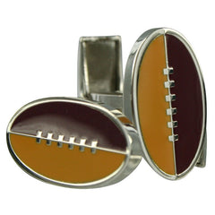 Footy Cuffs Maroon and Yellow Cufflinks