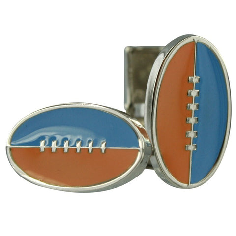 Footy Cuffs Orange and Light Blue Cufflinks