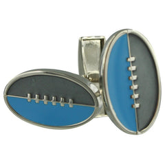 Footy Cuffs Grey and Light Blue Cufflinks