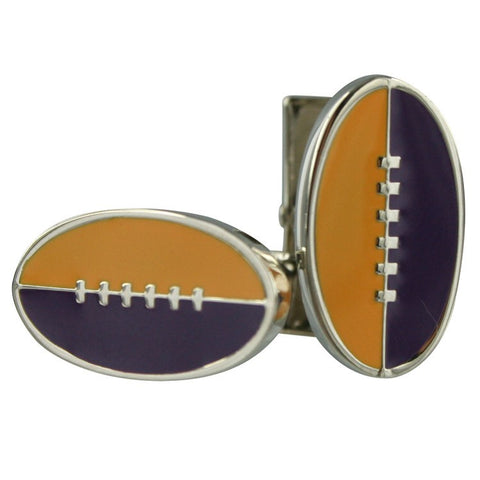 Footy Cuffs Purple and Yellow Cufflinks
