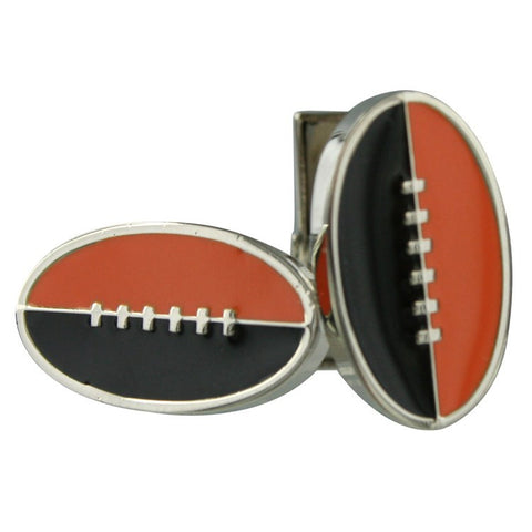Footy Cuffs Orange and Black Cufflinks