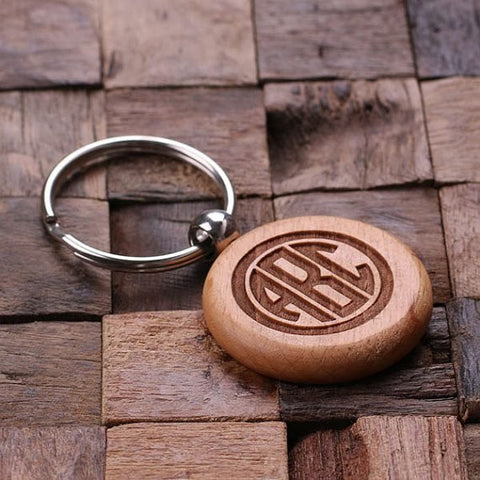 Personalised Round Wood Keyring
